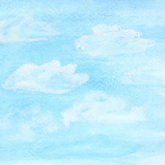 青い春の空と雲と水彩の背景