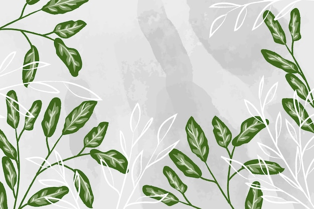 Watercolor background with detailed leaves