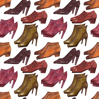 Watercolor background with different kinds of seasonal shoes