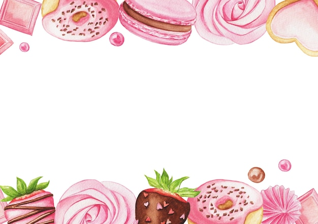 Watercolor background with macaron, strawberry, donut, chocolate and candies isolated on a white. sweet frame