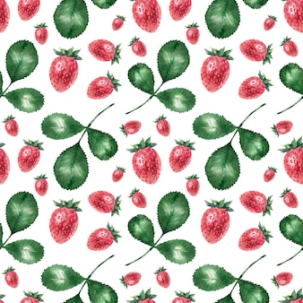 Watercolor background with ripe strawberries