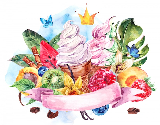 Watercolor background with soft italian ice cream