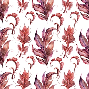 Watercolor background with stylized acanthus plant