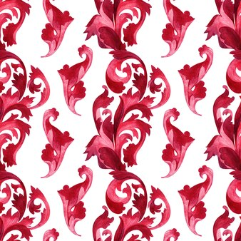 Watercolor background with stylized elements of the acanthus plant
