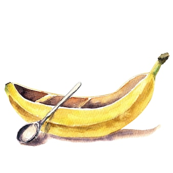 Watercolor banana-shaped kayak