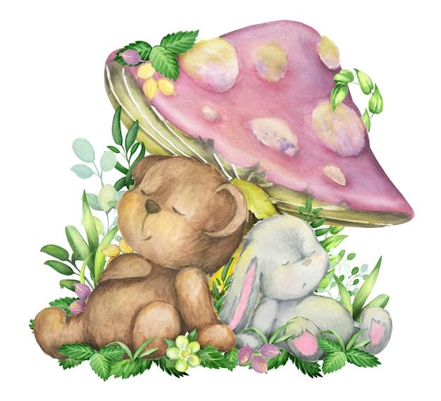 Watercolor, bear, rabbit is sleeping under a mushroom
