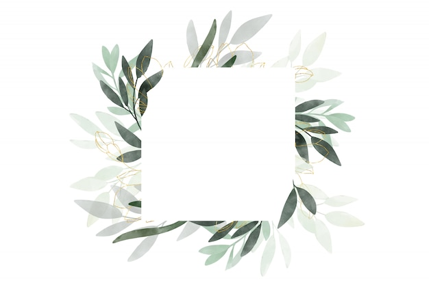 Watercolor beautiful banner with leaves and twigs drawn. design for wedding and greeting cards.