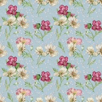 水彩画の美しい花の背景。クリムゾン、白とピンクのポピー。シームレスな花柄。母の日カード。バレンタインデーのイラスト。