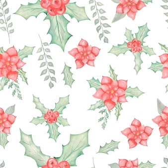 Watercolor beautiful seamless pattern with christmas  poinsettia with leaves and berries.