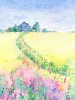 家へのパスと水彩の美しい村の風景。