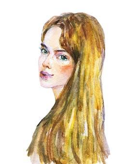 水彩の美しさの若い女性。ブロンディの女性の手描きの肖像画。白の絵画ファッションイラスト