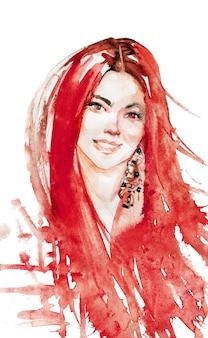 水彩の美しさ若い赤い頭の女性。笑顔の女性の手描きの肖像画。白の絵画ファッションイラスト
