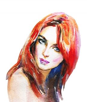 水彩の美しさの若い女性。ジンジャーヘッドガールの手描きの肖像画。白の絵画ファッションイラスト