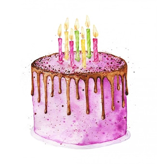 Watercolor birthday cake with chocolate glaze and candles