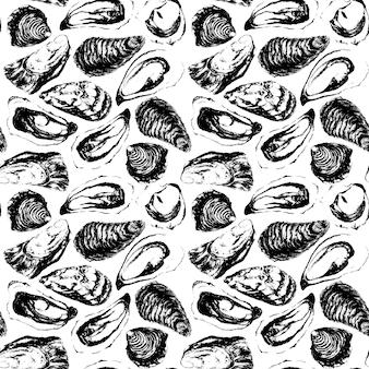 水彩の黒と白の手作り牡蠣のシームレスなパターン