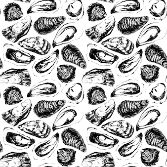 Watercolor black and white hand made oysters seamless pattern