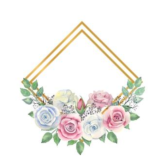 水彩の青とピンクのバラの花、緑の葉、ゴールドのダイヤモンド形のフレームの果実