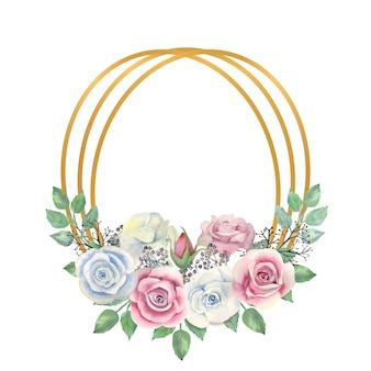 水彩の青とピンクのバラの花、緑の葉、金の楕円形のフレームの果実