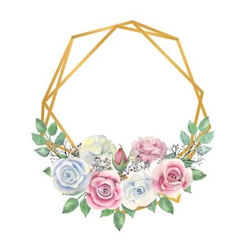 水彩の青とピンクのバラの花、緑の葉、金の多角形のフレームの果実
