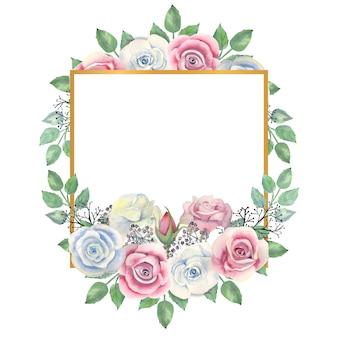 水彩の青とピンクのバラの花、緑の葉、金の正方形のフレームの果実