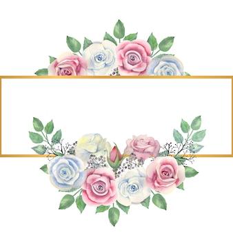 水彩の青とピンクのバラの花、緑の葉、金の長方形のフレームの果実