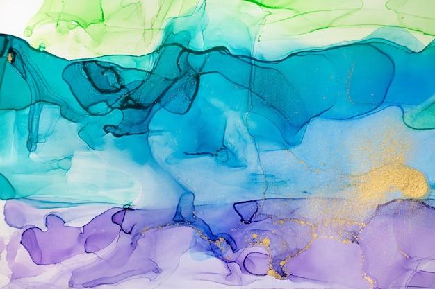 Акварель синий и фиолетовый абстрактный градиентный фон с золотой пылью