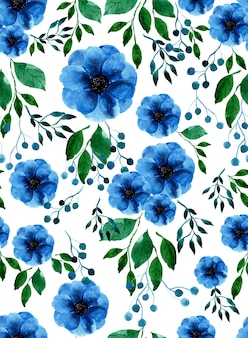 Watercolor blue anemone flower,berry and green leaf seamless pattern