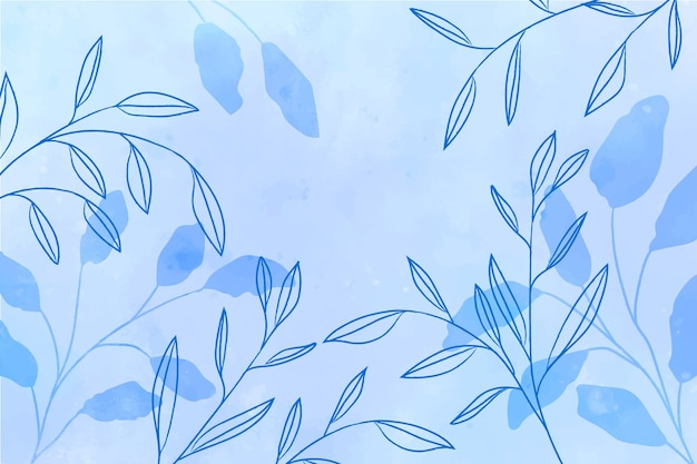Watercolor blue background with blue leaves