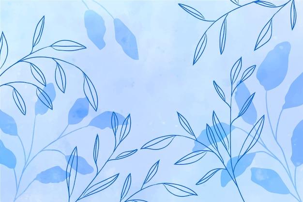 青い葉と水彩の青い背景
