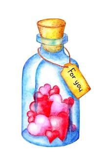 イラストの中に木製のコルクと水彩の青いボトル