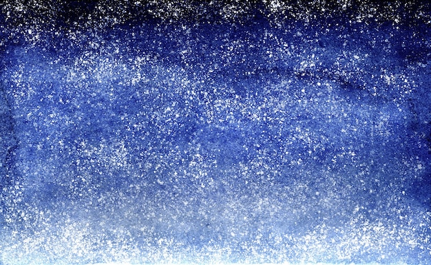 Watercolor blue brush strokes gradient background design night sky with stars.