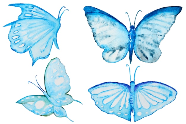 Watercolor blue butterflies set isolated on white