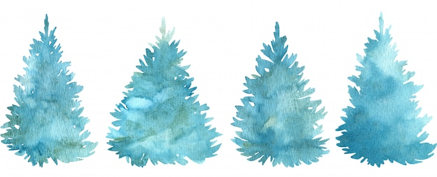 Watercolor blue christmas trees. conifer holiday trees. hand-drawn illustration.