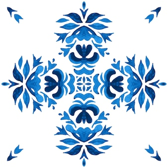 Watercolor blue damask seamless pattern, indigo renaissance tiling ornament. azulejo talavera ceramic tile.