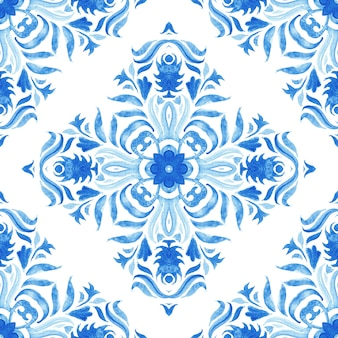 Watercolor blue damask seamless pattern, indigo renaissance tiling ornament. royal blue abstract filigree background. elegant decorative revival tracery design.
