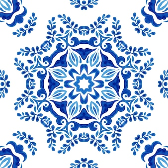Watercolor blue damask seamless pattern, mandala tiling ornament. royal blue abstract filigree background. elegant decorative flower design.