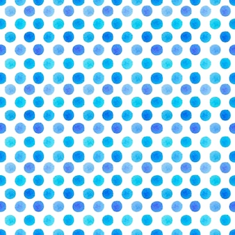 Watercolor blue dots seamless pattern