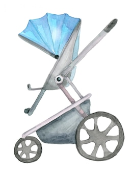 Watercolor blue pram