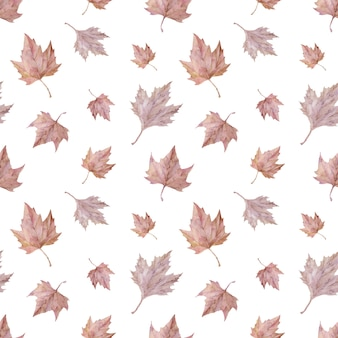 Watercolor blush autumn leaves. pink maple foliage seamless pattern