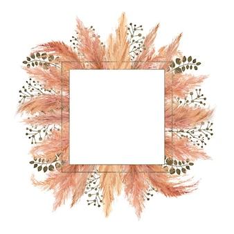 Букет акварель бохо с сушеной пампасной травой и серебряной геометрической рамкой на изолированном на белом фоне. цветочная иллюстрация для свадьбы или праздника, дизайн приглашений, открыток, полиграфии Premium Фотографии