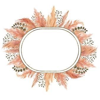 흰색 배경에 격리된 말린 팜파스 풀과 은색 기하학적 프레임이 있는 수채색 보헤미안 부케. 초대장, 엽서, 인쇄의 결혼식이나 휴가 디자인을 위한 꽃 그림