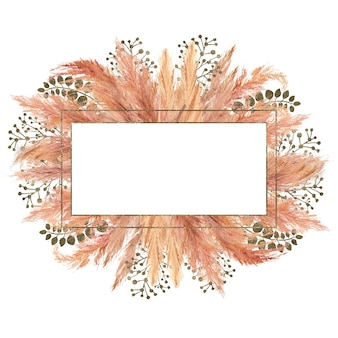 Watercolor boho bouquet with dried pampas grass and silver geometric frame on isolated on white background. flower illustration for wedding or holiday design of invitations, postcards, printing