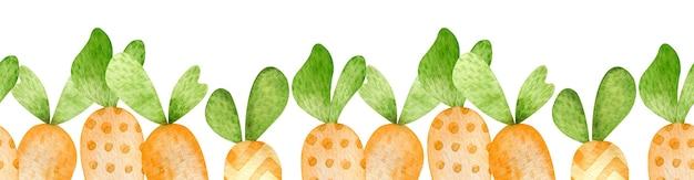 Акварельная граница оранжевой моркови в мультяшном стиле. счастливой пасхи раскрашенный вручную заголовок. морковь для пасхального кролика. бесшовные модели.