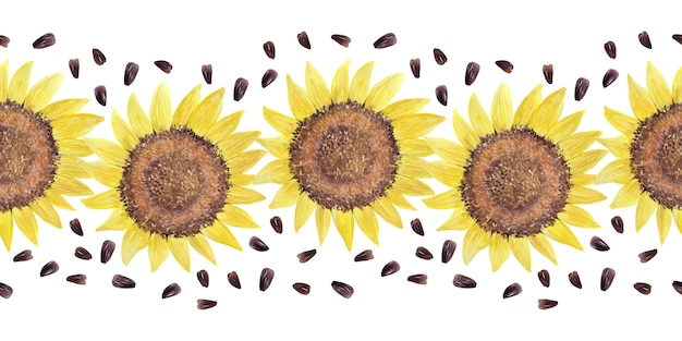 Watercolor border with bright sunflowers, leaves and buds of the plant