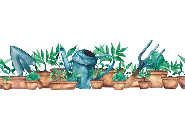 Акварельная граница с саженцами зелени в горшках и садовыми инструментами, лейка садовая лопата и грабли