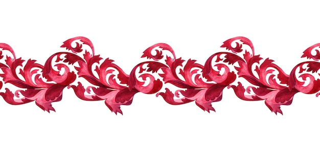 Watercolor border with stylized elements of the acanthus plant