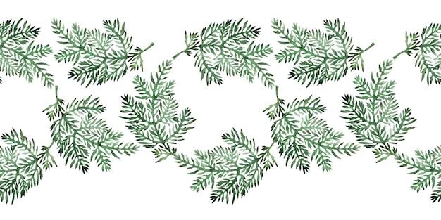 様式化されたよもぎ植物と水彩画の境界線