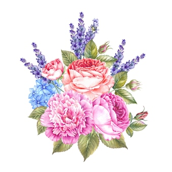 Watercolor botanical illustration of roses and lavender.
