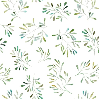 Watercolor botanical leaves seamless pattern illustration set isolated