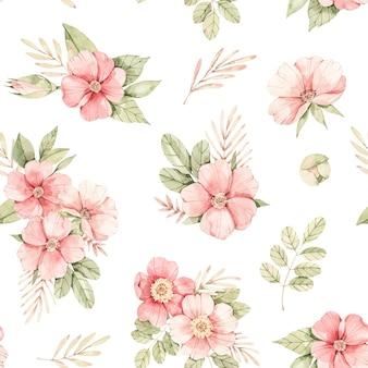 水彩植物のシームレスなパターン。ピンクの花の背景